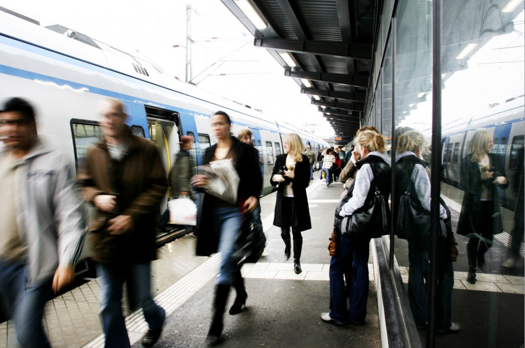 Swedes at a train station