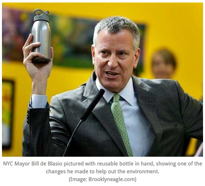 One NYC de Blasio with water bottle