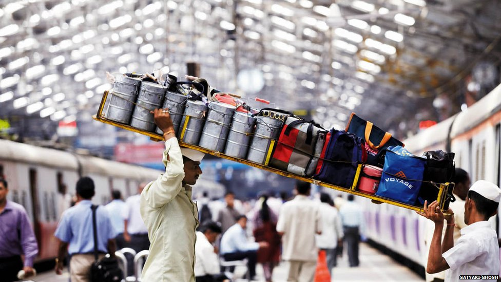 In India lunches are delivered to workers in reusable steel tiffins